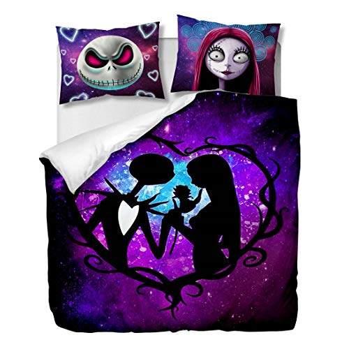 OliveSleep Nightmare Before Christmas Duvet Cover Sets Halloween Decor 3 Pieces Bedding Set with 2 Pillow Shams Gift (multicolor 1, Single)