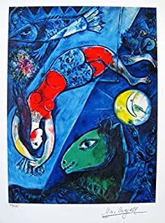 Artwork by Marc Chagall Blue Circus Limited Edition Facsimile Signed Small Giclee Print. After the Original Painting or Drawing. Paper 15 Inches X 11.5 Inches