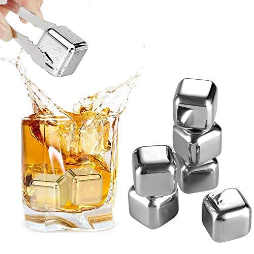 CYSJ 6 Cubitos de Whiskey Ice Cube Stone, Cubitos de Hielo Reutilizable Set, Enfriar Rocas de Refrigeración para Scotch Whisky, Vino, Gin Cocteleria Mini Bar Accesorios