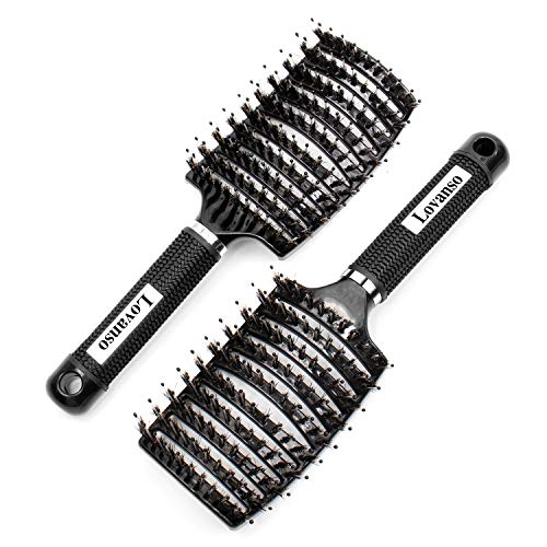Lovanso 2pcs Boar Bristle Hair Brushes Curved Vented Brush Oversize Design Detangling Hair Brush for Women Long, Thick, Curly and Tangled Hair Blow Drying Brush