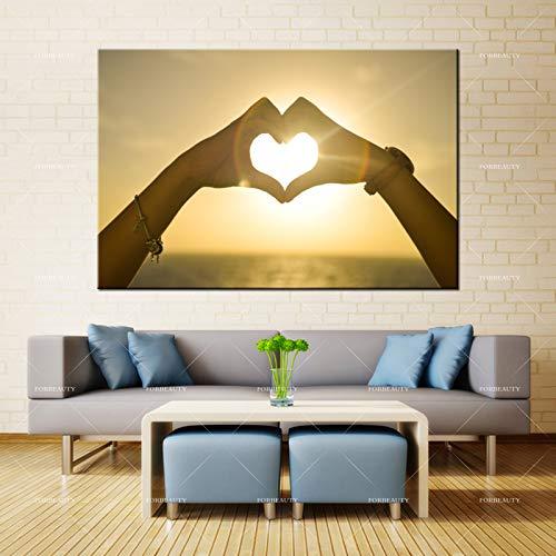 N / A Leinwandmalerei Wandkunst Sonnenuntergang Hand als Liebesmädchen Sprühfarbe Druck wasserdichte Tinte Hauptdekoration