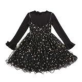 Vestido 2-6 Años Tutú para Bebé Malla Vestidos para Niña Princesa Infantil Falso Dos Piezas Falda Fiesta Volantes Manga Larga Algodón de Punto Lindo
