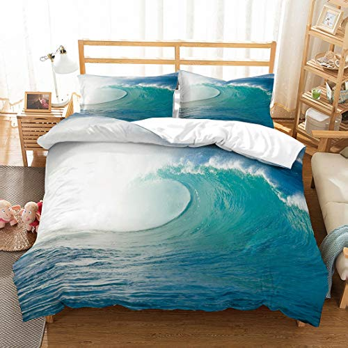 MOUMOUHOME Ocean Bedding Set 3D Ocean Waves for Surf Printed Blue/White Duvet Cover Set for Adults Boys Girls Kids,2 Pieces with 1 Duvet Cover 1 Pillow Sham Single