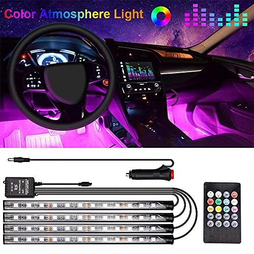 Tira de Luces LED para automóvil, Luces de neón Multicolor RGB Underglow Función Activa por Sonido y Control Remoto inalámbrico Cable de extensión y Brida para automóviles, Camiones, Barcos