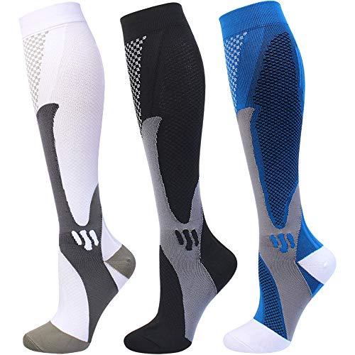 3 Pairs Compression Socks 20-30 mmHg for Men Women Medical Nurses Athletic Travel Large-X-Large