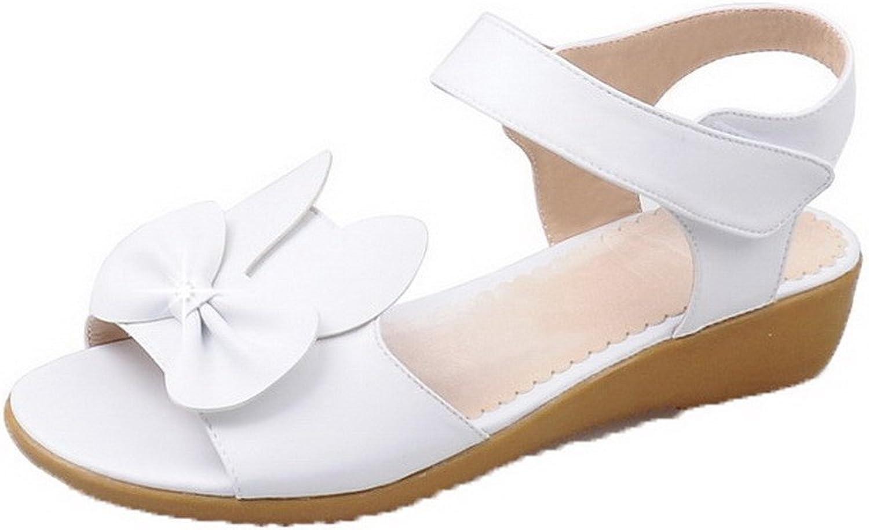 AmoonyFashion Women's Solid Pu Hook-and-Loop Sandals