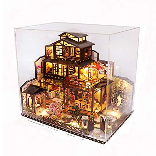 ZPBDC Casa de muñecas DIY Kit de Estilo Mixto Chino y japonés montado en Miniatura con Muebles Casa de muñecas Juguetes para niños Regalos para Adultos (Size : with Dust Cover)