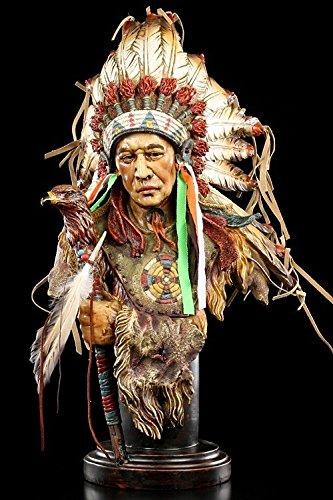 Indianer Figur groß - Häuptling Büste mit Adler Zepter