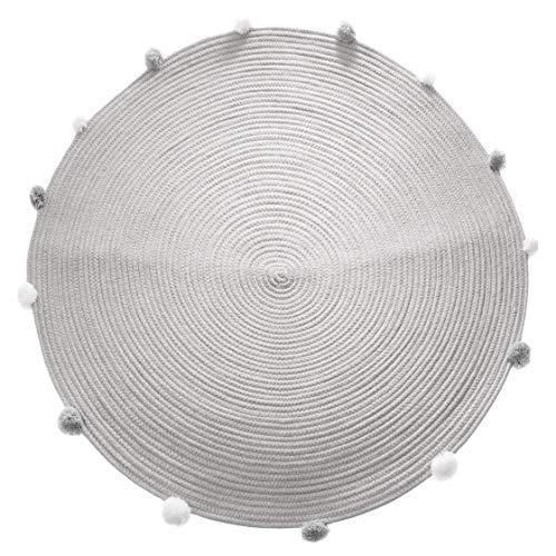 Atmosphera - Tapis Rond Pompons Gris Diamètre 90 cm