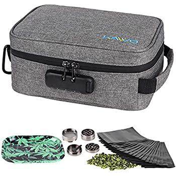 Stash Case Smell Proof Bag - Scent Proof Bag Dog Tested Bags with Combination Lock Odor Proof Stash Case Container for Herbs, Coffee, Tea, Oils and Food Storage (Gray)