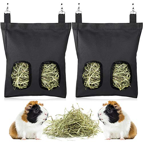 Geegoods Rabbit Hay Feeder Bag, Guinea Pig Hay Feeder Storage ,Hanging Feeding Hay for Small Animals Larege Size 600D Oxford Cloth Fabric (2 Pack Black)