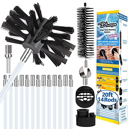 Bluesea 20 Feet Dryer Vent Cleaning Kit, Lint Removes, Extends Up to 20 Feet