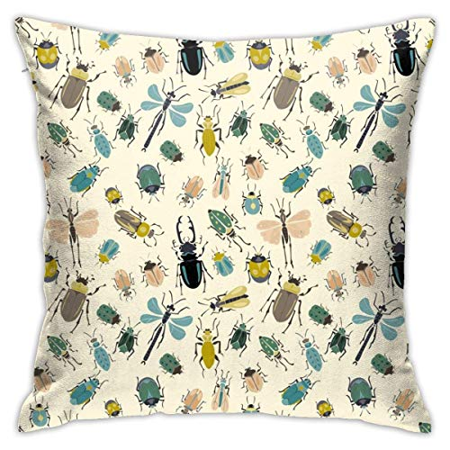 Throw Pillow Cover Cushion Cover Pillow Cases Decorative Linen Small Insect for Home Bed Decor Pillowcase,45x45CM
