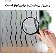 LEMON CLOUD No-Glue Static Decorative Privacy Window Films for Home Office Meeting Room (35.4In.by 78.7In, Waves Stripes)
