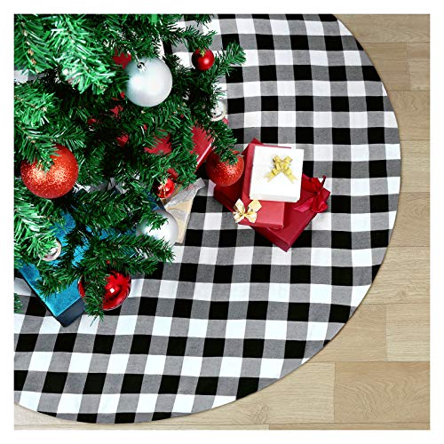 White and Black Plaid Cotton Tree Skirts 36 Inches Xmas Checked Tree Skirts for Christmas Tree Skirts New Year Party Outdoor Decoration