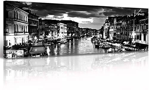 """DJSYLIFE Italy Canvas Wall Art Venice City Skyline Pictures Painting Modern Black and White Cityscape Artwork Bedroom Office Decoration Ready to Hang 13.8"""" X 47.3"""""""