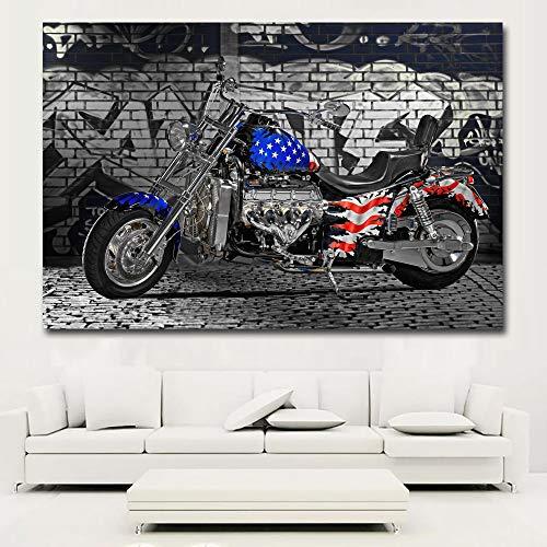 tzxdbh HD Prints Vintage Motorfiets USA Vlag Schilderen Op Doek Prints Huisdecoratie Muurschilderingen Voor Woonkamer, Slaapkamer Schilderij & Kalligrafie Grou 70x105CM No Frame