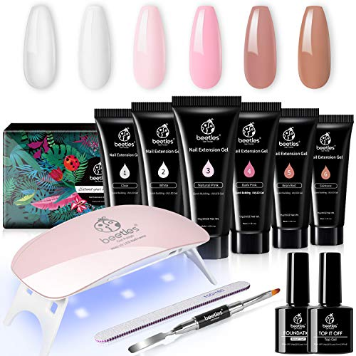 Beetles Poly Extension Gel Nail Kit, Nail Builder Gel Nail Enhancement Trial Kit Professional Nail Technician All-in-One French Kit Gift Set with Mini Nail Lamp for Nail Art Starter Kit