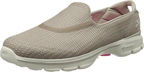 Skechers Performance Women's Go Walk 3 Slip-On Walking Shoe, Stone, 7 M US