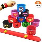 YuChiSX 12 Piezas Superhéroe Slap Pulseras,Bandas Slap de Superhéroe para Niños Niños y Niñas para niños Regalo de Fiesta de cumpleaños Cumpleaños Suministros Favores