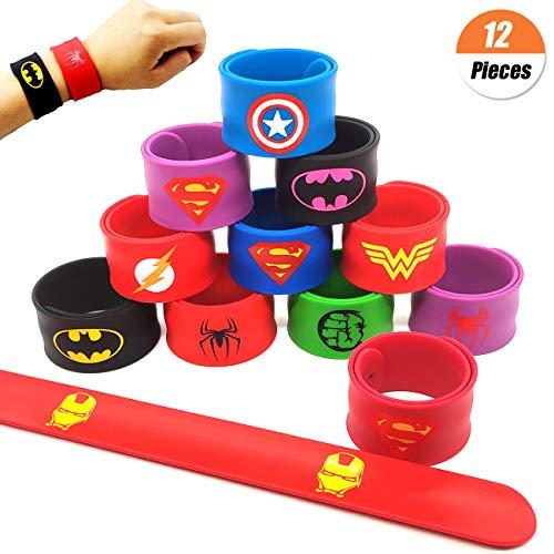 YuChiSX 12 Pcs Superheroes Slap Bands for Kids, Slap Bands Bracelet Party Bag Fillers for Birthday Party Easter Halloween Christmas Favors
