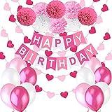 """Decorazione Compleanno Bimba. Bandierine di Buon Compleanno """"Happy Birthday"""" + Set di 8 Pompon a Fiore + 2 Festoni con Cuori di 3 m + 12 Palloncini Perlati Rosa Bianco Fucsia"""