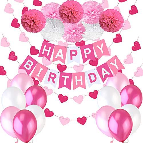 Decoraciones Cumpleaos Nina  1 Bandera Banderines Feliz Cumpleaos Happy Birthday + 8 Pompon Bola de Flor + 2 Guirnaldas Corazon de 3 metros + 12 Globos Rosa Fucsia Blanco