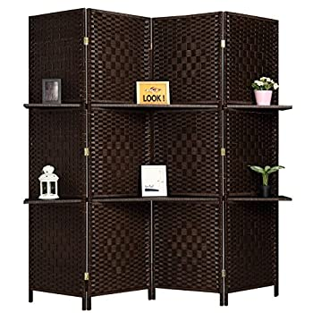 RHF 6 ft Tall  Extra Wide  Diamond Room Divider,Wall divider,Room dividers and folding privacy screens,Partition Wall With 2 Display Shelves&room divider with shelves-DarkMocha-4 Panels 2 Shelves