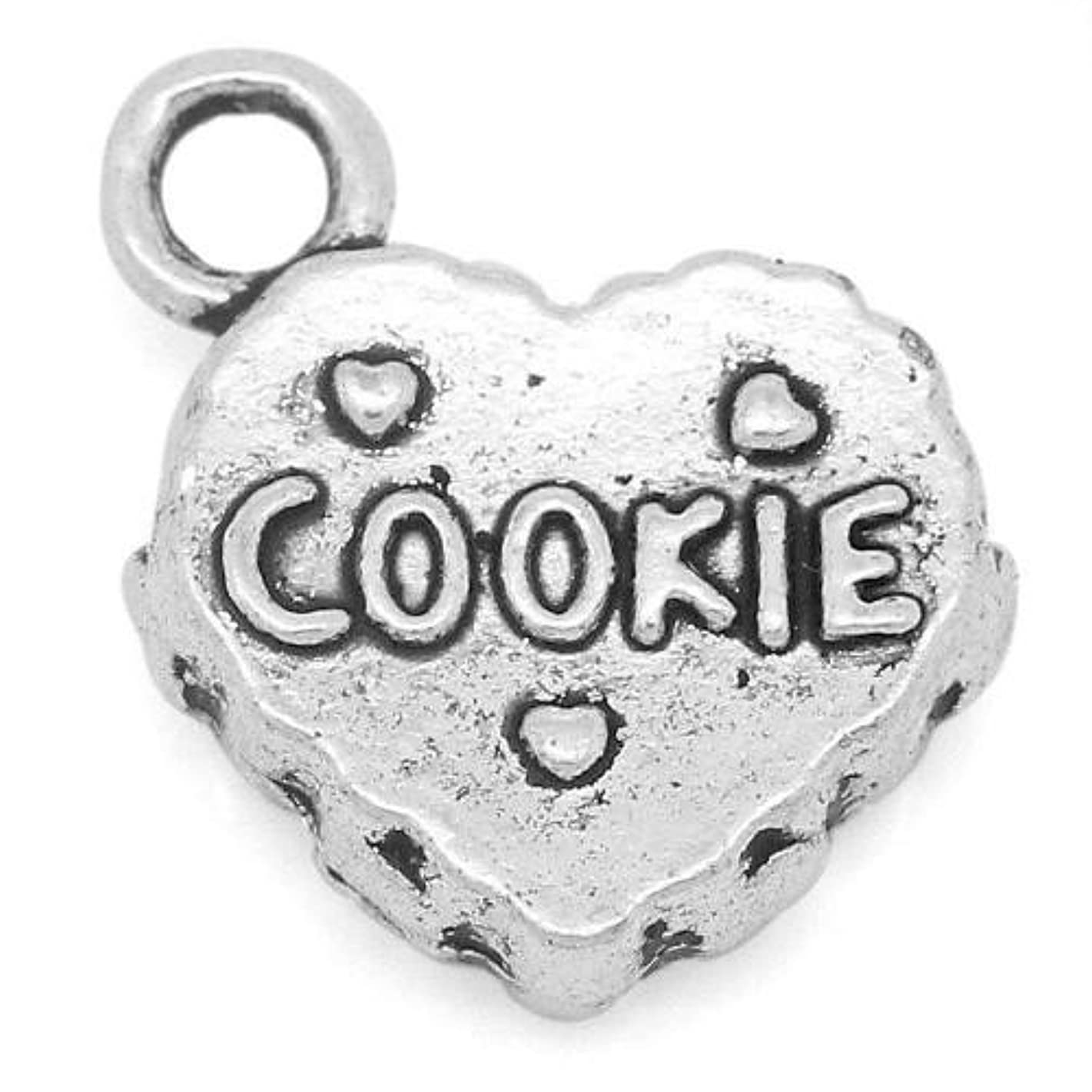 Packet of 10 x Antique Silver Tibetan 14mm Charms Pendants (Cookie) - (ZX04665) - Charming Beads
