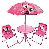 Fun House 712687 DISNEY MINNIE Salon de jardin pour enfant avec 1 table, 2 chaises et 1 parasol