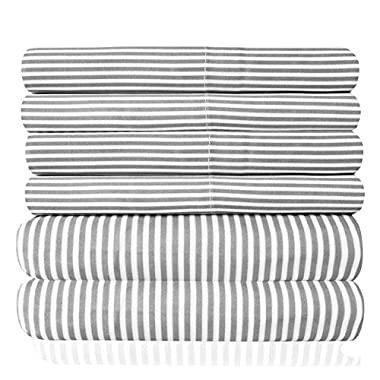 Sweet Home Collection 6 Piece 1500 Thread Count Deep Pocket Bed Sheet Set - 2 Extra Pillow Cases, Great Value, Classic Stripe Gray, Queen
