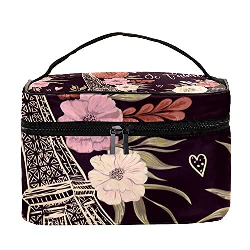 Bolsa de maquillaje de viaje floral de la Torre Eiffel de París vintage, bolsa de maquillaje, organizador con cremallera, para mujeres y niñas