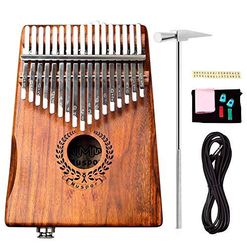 Alnicov Acacia EQ Kalimba de 17 teclas, pastilla incorporada de piano de pulgar eléctrico con interfaz de audio de 6,35 mm para principiantes Instrumentos musicales profesionales