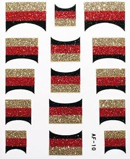 きらきら逆フレンチネイルシール ドイツ国旗 AF10 貼るだけ ジェルネイルアート