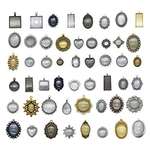 Julie Wang 10 Sets gemischte Antik-Optik Metallfassung Lünette Anhänger Blanks mit Glasdeckel...