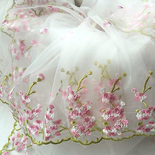 The Yard - Tela de encaje de organza blanca con bordado floral rosa para boda