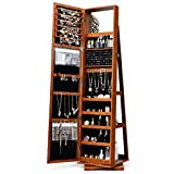 FANTASK 360°Rotating Jewelry Cabinet Armoire, Lockable Freestanding Jewelry Organizer w/ Full Length & Inner Mirrors Large Cosmetic Storage Capacity Shelves, Armoire Cabinet for Dressing Make-up(Brown)