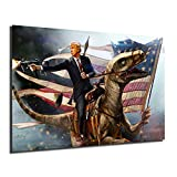 Donald Trump Pistol Flag For President 2020 Poster Painting On Canvas Bedroom Wall Art Decoration Pictures Home Decor (No Framed,16x24inch)