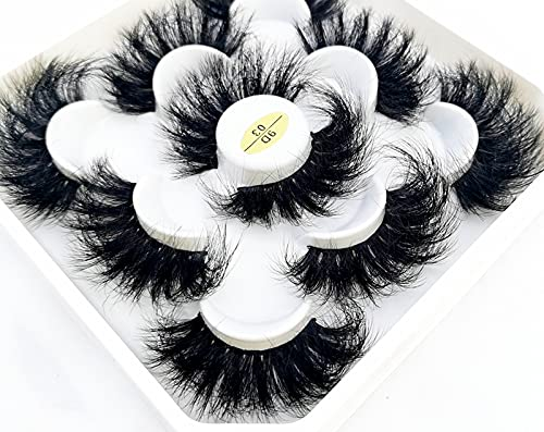 HBZGTLAD new 5 Pairs Max 86% OFF 25 mm 3d Custom with Faux Lashes Bulk Mink Ranking TOP1