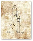 Slide Trombone Instrument Drawing - 11 x 14 Unframed Patent Print - Great Gift for Musicians and Jazz Ensembles - Music Room or Band Room Decor