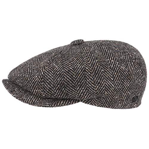 Lierys Fischgrat Flatcap (Schiebermütze) für Herren, Hatteras Cap gefertigt aus Schurwolle (Tweed) mit klassischen Fischgräten Muster (M/56-57, Dunkelbeige)