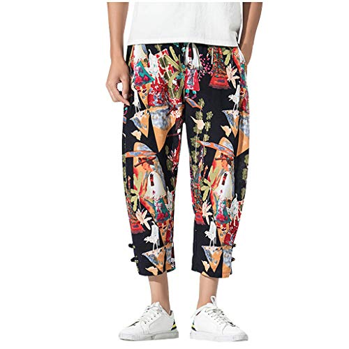 Xmiral Leggings Uomo Tuta Uomo Tuta Uomo Cotone Tuta Uomo Invernale Trousers Uomo Pants Uomo Sport Cargo Pants Uomo (M,2- Giallo)