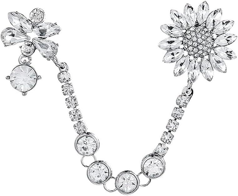 LQGSYT Crystal Our shop most popular Rhinestones Flower Chain Max 78% OFF Lapel Brooch Collar Pins