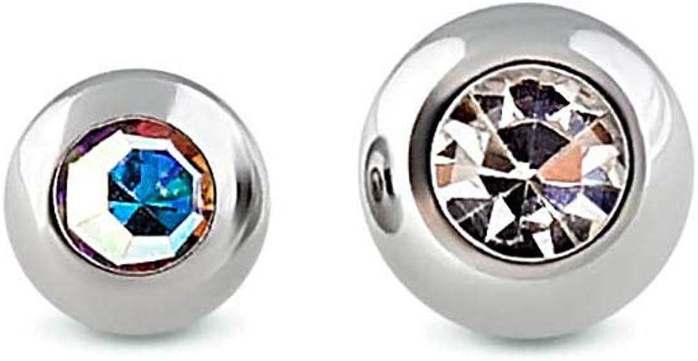18g - 16g Externally Threaded Bezel-Set Jewel Replacement Ball - Price Per 1