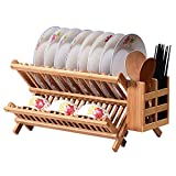 EOSAGA Bamboo Dish Rack Bamboo Folding 2-Tier Collapsible...