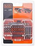 Black+Decker A7234-XJ A7234-XJ-Juego de 45 Piezas para Taladrar y Atornillar en Tough Case pequeño, 0 V, naranja