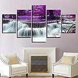 chengcheng Pintura 5 Impresiones de Pintura de Púrpura Bosque árbol Lago Cascada Paisaje Lonas de HD Cuadros para dormitorios