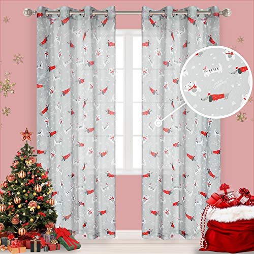 LORDTEX Cat & Dog Print Christmas Sheer Curtains for Living Room and Bedroom - Voile Semi Sheer Curtains Grommet Top Curtains, 52 x 84 Inches Long, Gray, Set of 2 Curtain Panels
