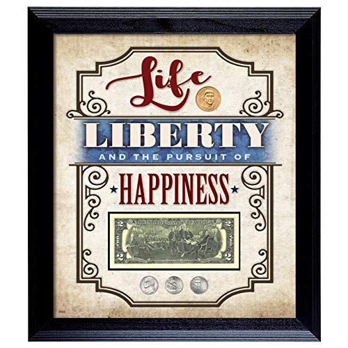 Life Liberty Wall Art Frame | Genuine US Currency and Coins | 16x14 Wall Decor | Certificate of Authenticity – American Coin Treasures