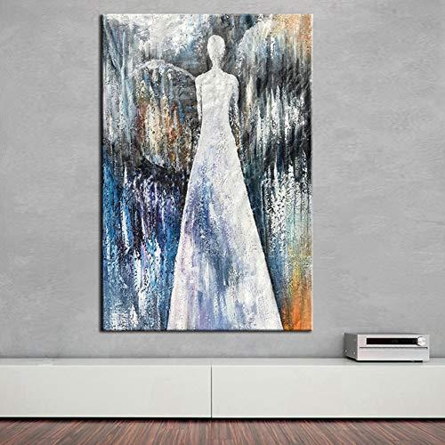 Olieverfschilderij, handbeschilderd, op canvas, abstract figuur, voor dames, in witte jurk, modern, vintage, kunsthandwerk, wanddecoratie voor woonkamer, keuken, slaapkamer, kantoor, volwassenen 70 x 105 cm
